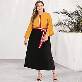 Women's A-Line Dress Maxi long Dress - Long Sleeve Color Block Solid Color Patchwork Plus Size Casual Streetwear Going out Yellow L XL XXL 3XL 4XL