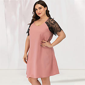 Women's Plus Size A Line Dress - Short Sleeves Solid Color Lace Patchwork Deep U Sexy Cute Daily Going out Belt Not Included Blushing Pink L XL XXL XXXL XXXXL