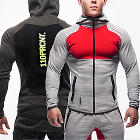 Men's Patchwork Cotton Track Jacket Running Jacket Winter Full Length Visible Zipper Running Fitness Gym Workout Breathable Comfortable Sportswear Hoodie Sweat