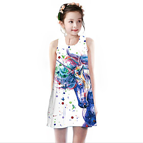 Kids Girls' Basic Cute Unicorn Rainbow Animal Cartoon Print Sleeveless Knee-length Dress White