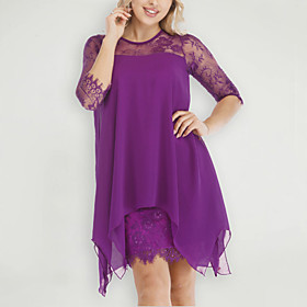 Women's Sheath Dress Short Mini Dress - 3/4 Length Sleeve Solid Colored Spring  Summer Plus Size Chiffon Slim 2020 Black Purple Red Yellow Blushing Pink Wine D