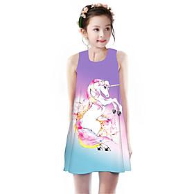 Kids Girls' Basic Cute Unicorn Rainbow Animal Cartoon Print Sleeveless Knee-length Dress Purple