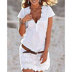Women's Shift Dress Short Mini Dress - Short Sleeve Eyelet Lace Summer Deep V Hot Belt Not Included White Khaki S M L XL XXL