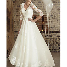 A-Line Wedding Dresses V Neck Floor Length Lace Tulle Half Sleeve Country Plus Size with Appliques 2020
