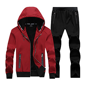 Men's 2-Piece Full Zip Tracksuit Sweatsuit Jogging Suit Casual Long Sleeve Cotton Thermal / Warm Breathable Soft Fitness Running Jogging Sportswear Solid Color