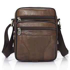 Men's Zipper PU Crossbody Bag Solid Color Brown / Black