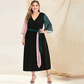 Women's A-Line Dress Maxi long Dress - Long Sleeve Color Block Solid Color Patchwork V Neck Plus Size Casual Streetwear Going out Beach Flare Cuff Sleeve Black