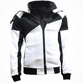 Men's Hoodie Zip Up Hoodie Color Block Hooded Casual Hoodies Sweatshirts  White Blue Red