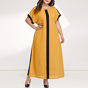 Women's Loose Maxi long Dress - Long Sleeve Color Block Solid Color Patchwork Plus Size Casual Sophisticated Going out Batwing Sleeve Loose Yellow Blushing Pin