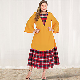 Women's A-Line Dress Maxi long Dress - Long Sleeve Color Block Plaid Solid Color Patchwork Spring  Summer Fall  Winter Plus Size Casual Elegant Going out Flare