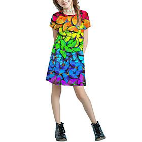 Kids Girls' Basic Cute Color Block Animal Patchwork Print Short Sleeve Above Knee Dress Rainbow