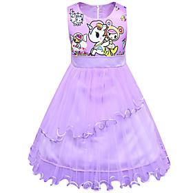 Kids Girls' Active Cute Unicorn Patchwork Cartoon Layered Mesh Sleeveless Knee-length Dress Purple