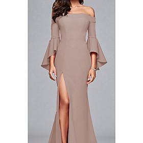 Women's Maxi Sheath Dress - 3/4 Length Sleeve Solid Color Off Shoulder Wine Black Red S M L XL