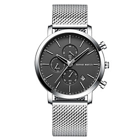 Men's Dress Watch Quartz Stainless Steel 30 m Calendar / date / day Chronograph Day Date Analog Fashion Cool - Black / Silver WhiteSilver Black One Year Batter