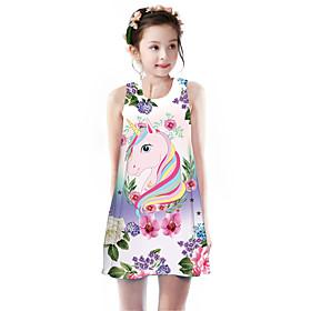 Kids Girls' Basic Cute Unicorn Floral Animal Cartoon Print Sleeveless Knee-length Dress Blushing Pink