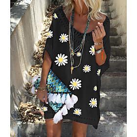 Women's Knee Length Dress Daisy A-Line Dress - Short Sleeves Floral White Black S M L XL XXL