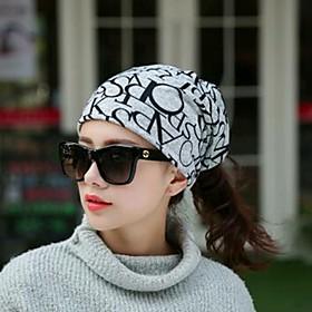 Women's Floppy Hat Acrylic Basic - Floral All Seasons Black Light gray
