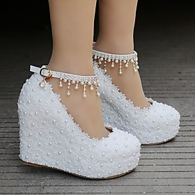 Women's Wedding Shoes Wedge Heel Round Toe Sparkling Glitter / Buckle / Tassel Lace / PU Sweet / Preppy Spring  Summer / Fall  Winter Pink / White / Party  Eve