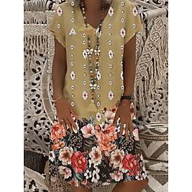 Women's A Line Dress - Short Sleeves Print Yellow Khaki S M L XL XXL XXXL