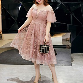 A-Line Plus Size Pink Party Wear Cocktail Party Dress Jewel Neck Short Sleeve Tea Length Tulle with Embroidery 2020