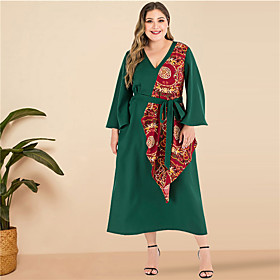 Women's A-Line Dress Maxi long Dress - Long Sleeve Solid Color Patchwork V Neck Plus Size Going out Flare Cuff Sleeve Green XL XXL 3XL 4XL
