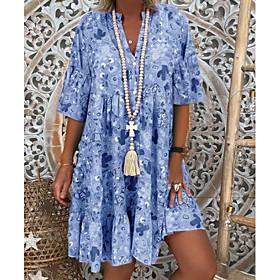 Women's A-Line Dress Short Mini Dress - Half Sleeve Floral Summer Stand Holiday Vacation Loose White Blushing Pink Orange Green Light Blue S M L XL XXL XXXL XX
