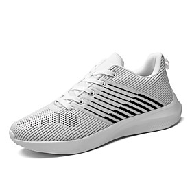 Men's Spring / Summer Casual Daily Outdoor Trainers / Athletic Shoes Walking Shoes Tissage Volant Breathable Wear Proof White / Black / Red