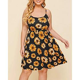 Women's Strap Dress Knee Length Dress - Sleeveless Floral Summer One Shoulder Sexy Loose 2020 Yellow 3XL 4XL 5XL