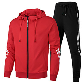 Men's 2-Piece Full Zip Elastane Tracksuit Sweatsuit Jogging Suit 2pcs Winter Front Zipper Running Walking Jogging Breathable Moisture Wicking Soft Sportswear S