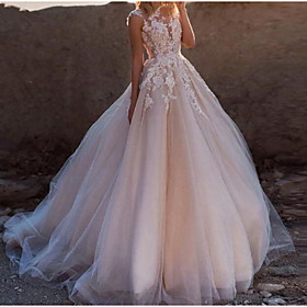 A-Line Wedding Dresses Jewel Neck Court Train Lace Tulle Sleeveless Sexy See-Through with Embroidery Appliques 2020