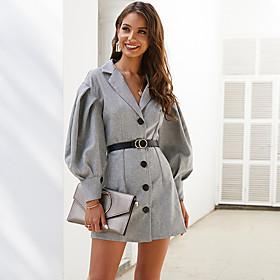 Women's A-Line Dress Short Mini Dress - Long Sleeve Solid Color Patchwork Summer Fall V Neck Work Elegant Lantern Sleeve 2020 Gray XS S M L