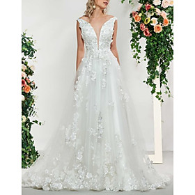 A-Line Wedding Dresses V Neck Sweep / Brush Train Lace Tulle Sleeveless Sexy Backless with Embroidery Appliques 2020
