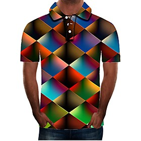 Men's 3D Graphic Polo Basic Daily Shirt Collar Rainbow / Short Sleeve