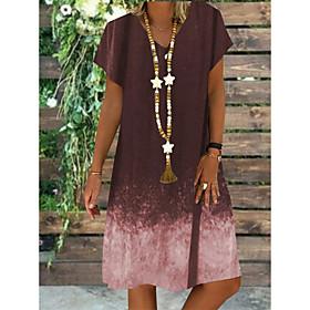 Women's A-Line Dress Knee Length Dress - Short Sleeve Color Gradient Summer V Neck Plus Size Casual Vintage Loose 2020 Black Blue Purple Brown S M L XL XXL 3XL