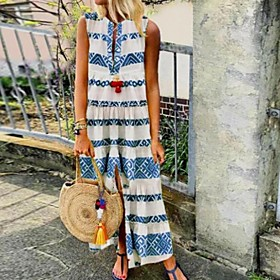 Women's Shift Dress Maxi long Dress - Sleeveless Print Summer Elegant 2020 Blue Red Green S M L XL XXL