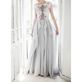 A-Line Wedding Dresses Jewel Neck Sweep / Brush Train Lace Tulle Cap Sleeve Sexy with Ruffles Embroidery 2020