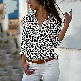 Women's Blouse Shirt Polka Dot Floral Cheetah Print Long Sleeve Print Shirt Collar Tops Casual Basic Basic Top Leopard White Yellow