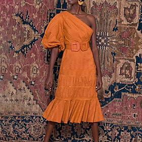 Sheath / Column Boho Maxi Holiday Cocktail Party Dress One Shoulder 3/4 Length Sleeve Knee Length Cotton with Sash / Ribbon 2020