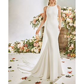 Mermaid / Trumpet Wedding Dresses Jewel Neck Court Train Stretch Satin Sleeveless Vintage Sexy Wedding Dress in Color See-Through Backless with Embroidery Appl