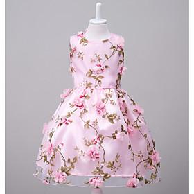 Toddler Girls' Flower Cute Jacquard Print Sleeveless Knee-length Dress Blushing Pink