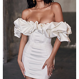 Sheath / Column Beautiful Back White Homecoming Cocktail Party Dress Off Shoulder Short Sleeve Short / Mini Charmeuse with Sleek 2020