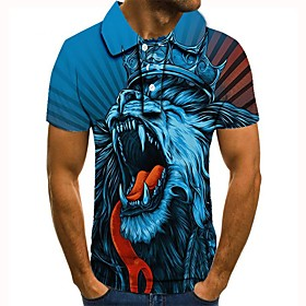 Men's 3D Graphic Polo Basic Daily Shirt Collar Blue / Short Sleeve