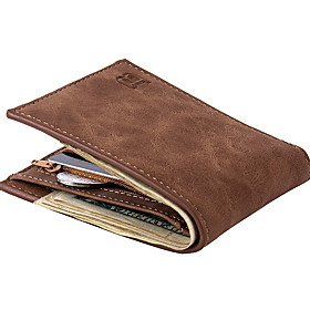 Men's Bags PU Leather Wallet Solid Color for Daily Black / Coffee