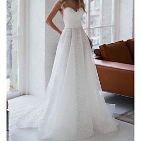 A-Line Wedding Dresses Jewel Neck Sweep / Brush Train Tulle Sleeveless Sexy See-Through Backless with Side-Draped 2020