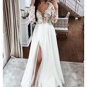 A-Line Wedding Dresses V Neck Floor Length Lace Chiffon Over Satin Long Sleeve Boho Sexy See-Through with Embroidery Split Front 2020