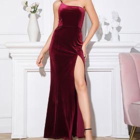 A-Line Mermaid / Trumpet Party Wear Dress Off Shoulder Sleeveless Floor Length Velvet with Split 2020