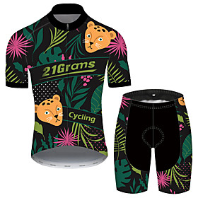 Men's Short Sleeve Cycling Jersey with Shorts Black / Green Floral Botanical Bike UV Resistant Quick Dry Sports Patterned Mountain Bike MTB Road Bike Cycling C