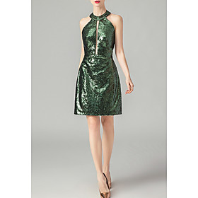 Sheath / Column Beautiful Back Green Party Wear Cocktail Party Dress Halter Neck Sleeveless Short / Mini Nylon with Sequin 2020