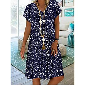 Women's A-Line Dress Knee Length Dress - Short Sleeves Polka Dot Summer Casual 2020 Purple Red Green Navy Blue Light Blue S M L XL XXL XXXL XXXXL XXXXXL