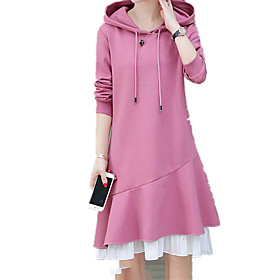 Women's Sheath Dress - Long Sleeve Solid Color Layered Summer Fall Casual Holiday Going out Slim 2020 Black Red Blushing Pink M L XL XXL XXXL